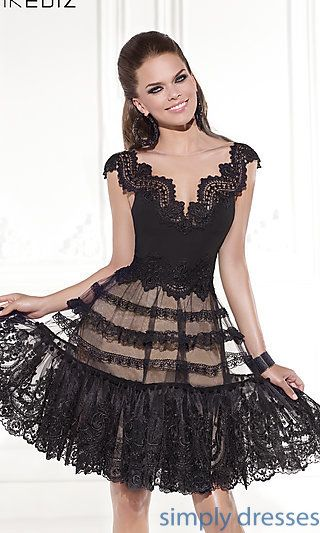 Short Illusion V-Neck Lace Dress by Tarik Ediz at SimplyDresses.com UGLY bottom but beautiful top.
