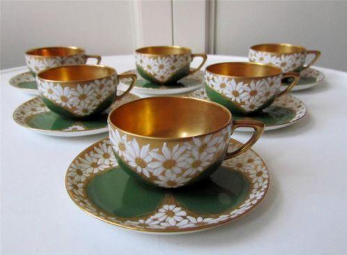 6 Gilt Enamel Rosenthal Art Deco Cabinet Cups Saucers 1924 Finest Quality