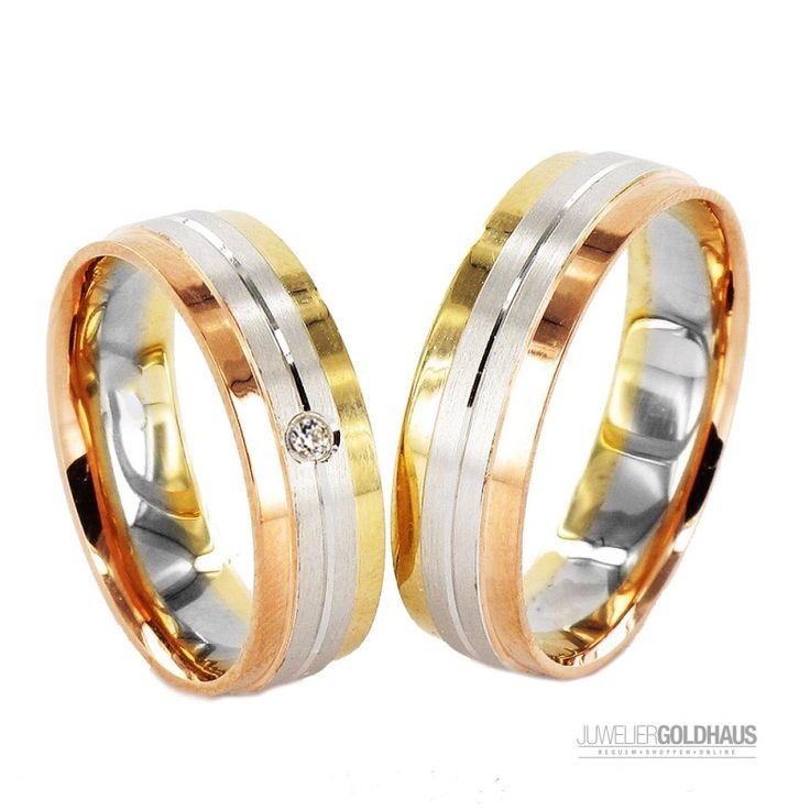 Trauringe Eheringe Gold Dreifarbig Tri-Color - J916