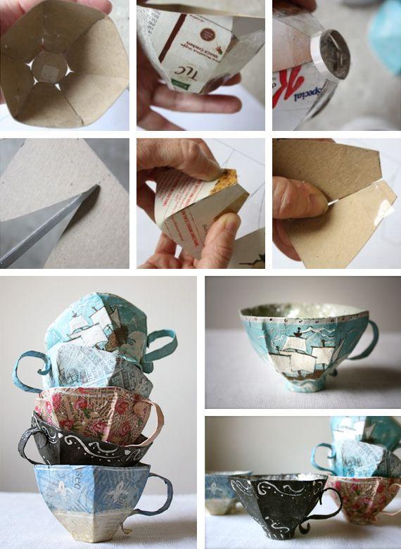 Paper mache teacup