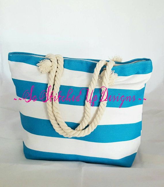Turquoise Striped Canvas Tote/  Purse/ Beach Bag  Generous