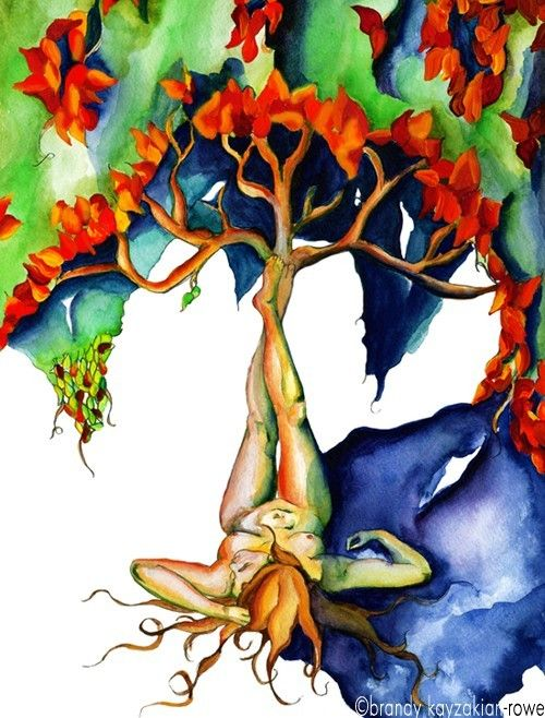 Mother Nature  Art Nouveau Woman Watercolor by WanderingGypsySoul, $30.00