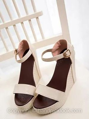 White PU Wedge Heel Sandals With Buckle Shoes -$18.49