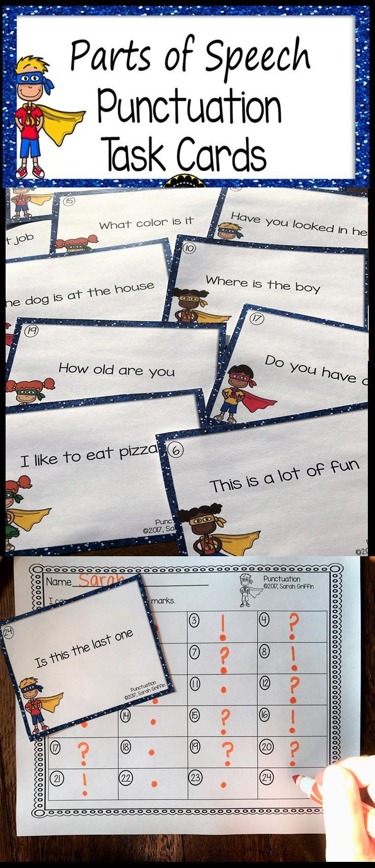 Punctuation Marks Task Cards | ELA Center | Ending punctuation | games | Kindergarten | First grade | Second Grade