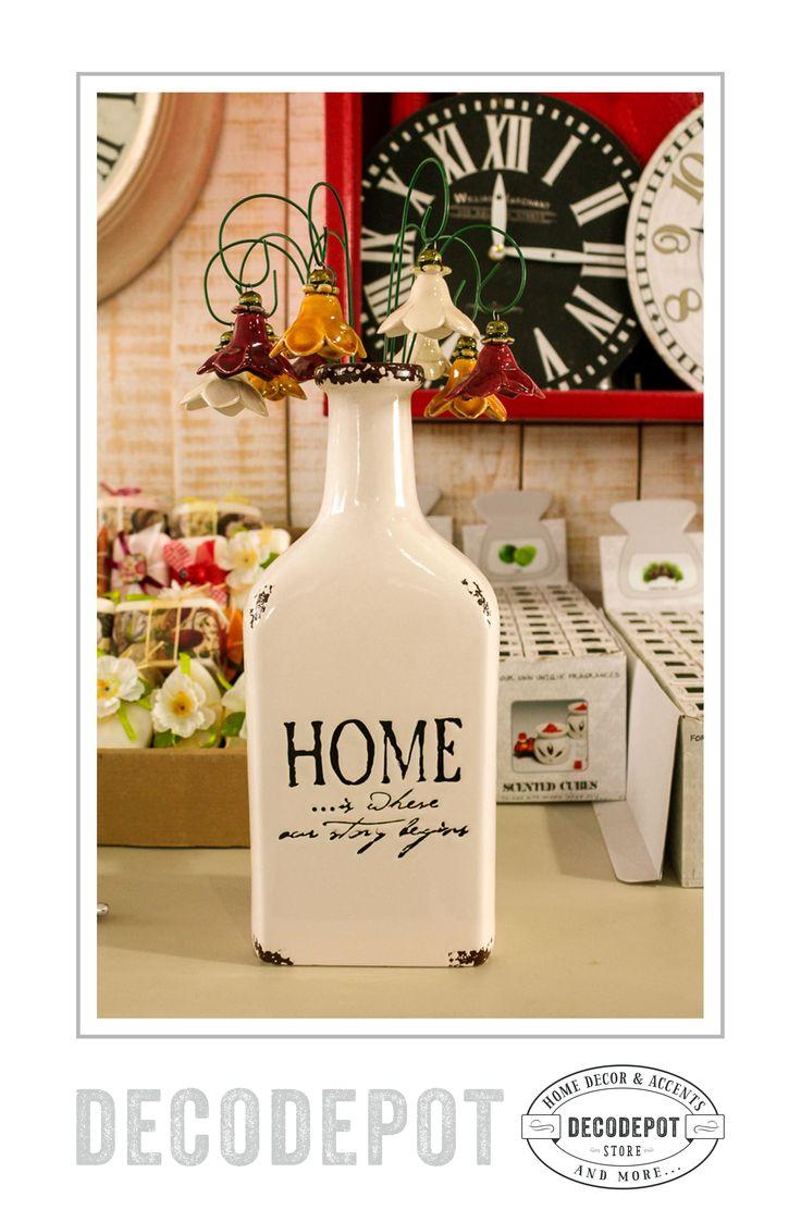 Sticlă din ceramică decorativă cu mesaj inscripţionat. DecoDepot. Bottle. Ceramic. Inscripted. Gift. Decorative. Braşov. Romania.
