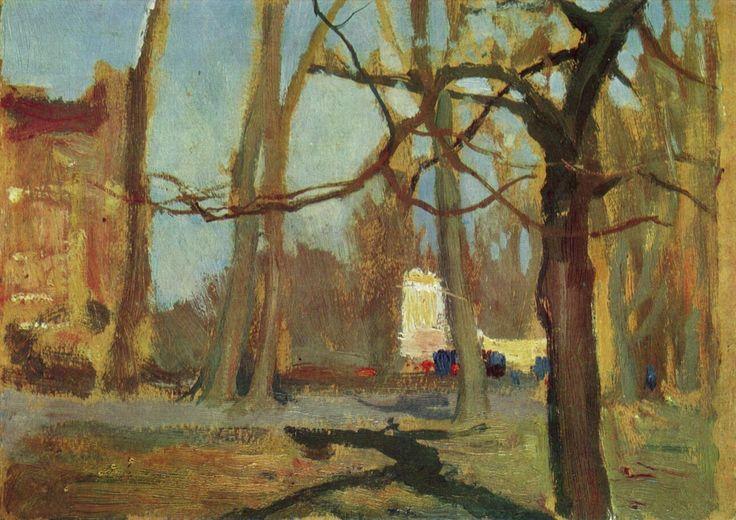 """Jan Stanislawski 1860-1907 The Planty Gardens in Krakow c.1900 Oil on paperboard 6¼""""x9"""" Slaskie Museum, Wroclaw"""