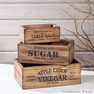 This set of three Vintage Style Wood Pantry Crates is perfect for organizing your farmhouse kitchen. I just love the antique style typography and warm wood. Available at farmhousewares.com