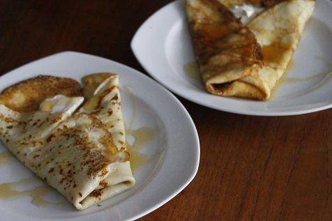 Ontbijt #recept flensjes met geitenkaas en honing. #Breakfast #recipe crepes with goatcheese and honey