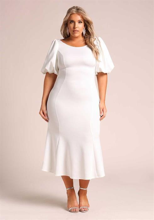Plus Size Puff Sleeve Midi Mermaid Dress  62773e1e8b22