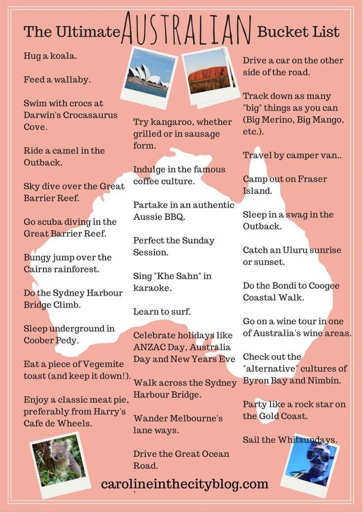 Fun find! Do you have a #travel bucket list within #Australia? Love these suggestions... can see a couple of items there on our personal one!