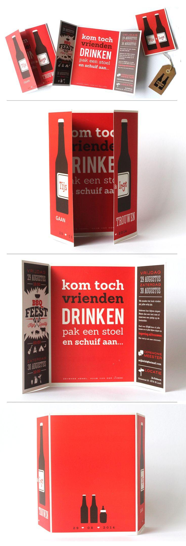 Trouwkaart, ontwerp, typografie, illustratie, trouwhuisstijl