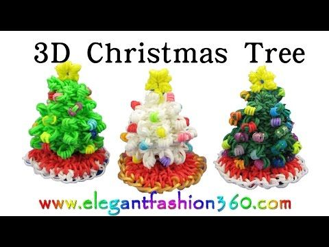 ▶ Rainbow Loom Christmas Tree 3D and Skirt Charm Holiday/Ornaments- How to Loom Band tutorial - YouTube