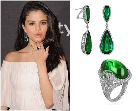 Diamond Drop Earrings and Tourmaline Snake Ring Selena Gomez Jewelry