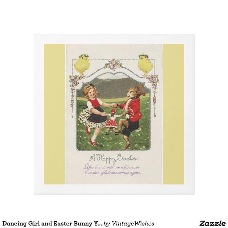 Dancing Girl and Easter Bunny Yellow Dinner Napkin
