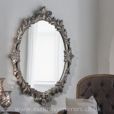Mary oval silver antique mirror