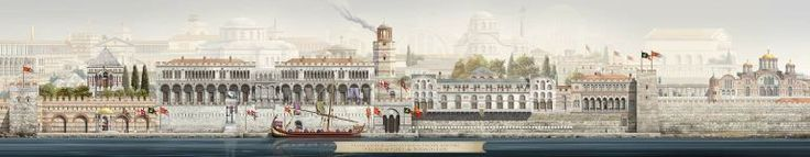 the Boukoleon Palace (on the shore of the Sea of Marmara) - Antoine Helbert collection of illustrations