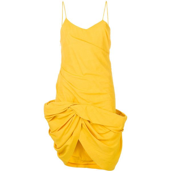 Jacquemus gathered twist-hem dress ($1,180) ❤ liked on Polyvore featuring dresses, ruched dress, gathered dress, rouched dress, shirred dress and shirring dress
