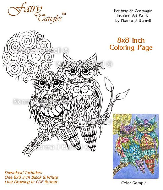 Moon Magic Fairy Tangles Owls with Full Moon Digital Adult Coloring Book Page Coloring Sheet Template - 8x8 inch for Adults and Kids Owls