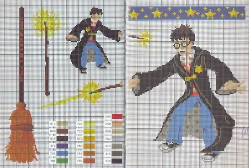A page of Harry Potter cross stitch pattern