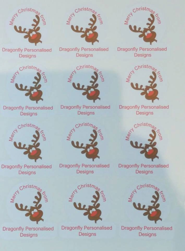 Business Christmas stickers, Logo stickers, sellers stickers, personalised stickers, santa stickers, rudolph stickers by DragonflyPersDesigns on Etsy