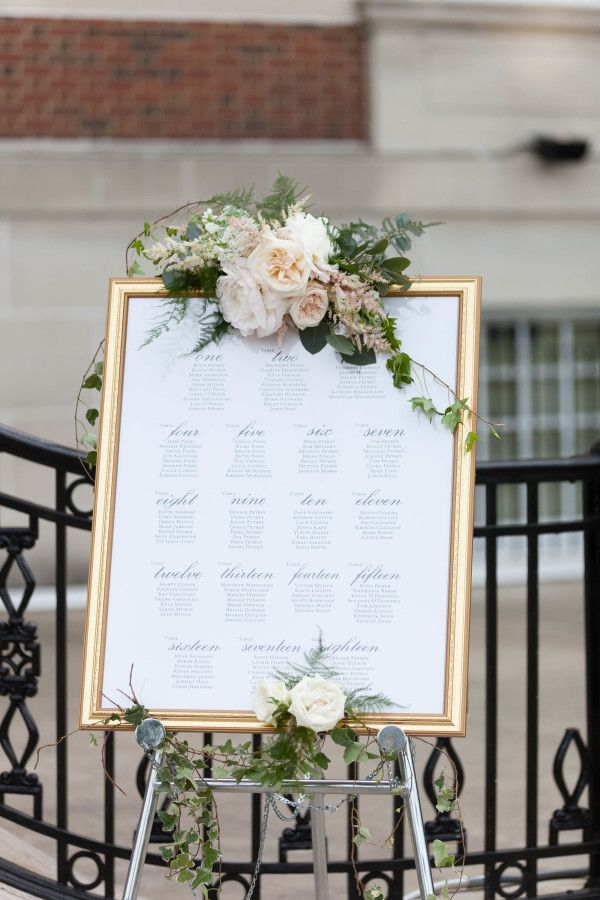 Gold framed table seating sign covered in peonies: http://www.stylemepretty.com/illinois-weddings/chicago/2016/09/08/chicago-history-museum-summer-wedding/ Photography: Emilia Jane - http://emiliajanephotography.com/