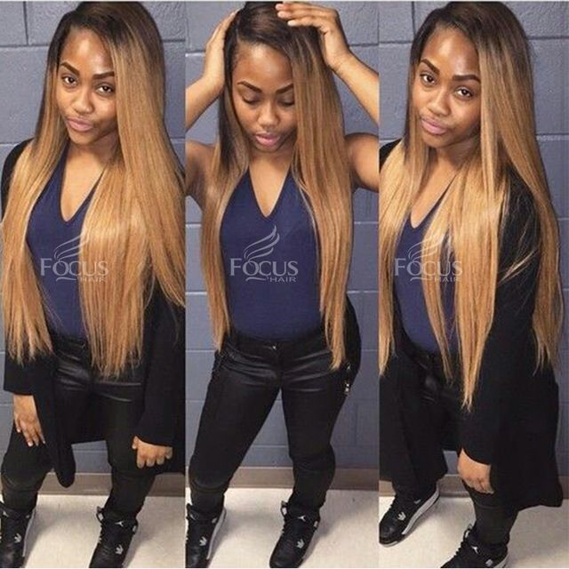 Ombre Honey Blonde Color 1B 27 Thick Glueless Full Lace Human Hair Wigs Brazilian Straight Lace Front U Part Wig For Black Women