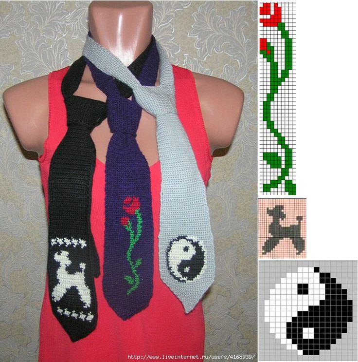 Crocheted Necktie Pattern   Вязаные крючком галстуки