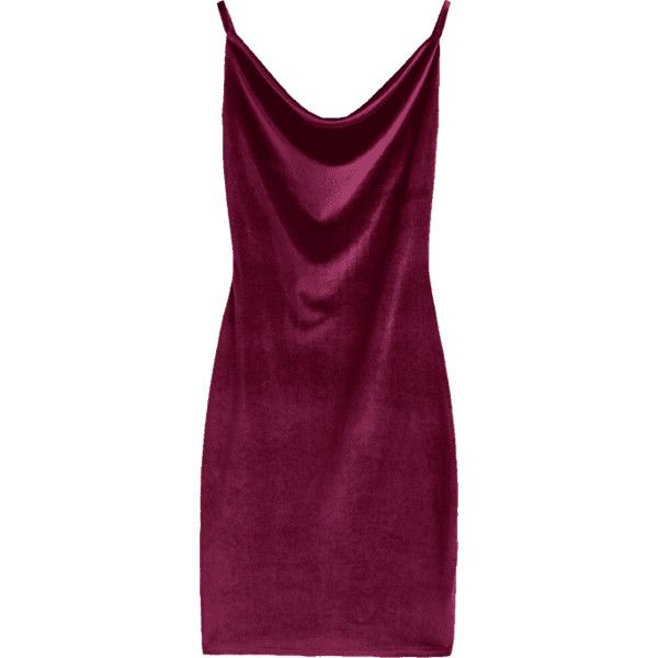 Cowl Neck Velvet Dress ($20) ❤ liked on Polyvore featuring dresses, zaful, bodycon cocktail dresses, body conscious dress, purple velvet dress, bodycon dresses and velvet bodycon dress
