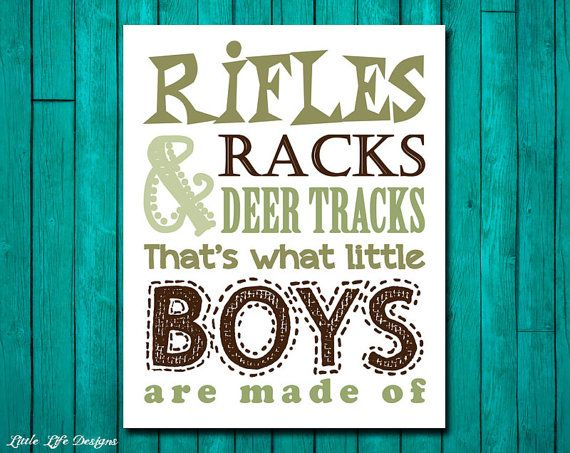 Hunting Nursery Decor. Children's Wall Art. Rifles Racks & Deer Tracks. That's what little boys are made of. by LittleLifeDesigns