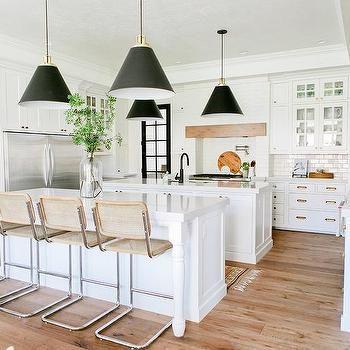 Two Kitchen Islands with Restoration Hardware Bauhaus Stools