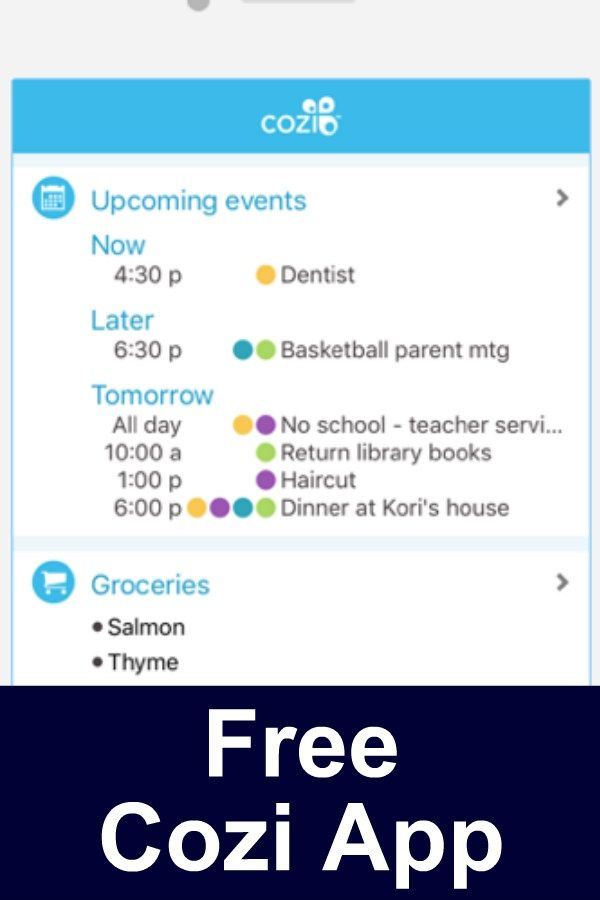 Free Cozi app. Keep events and activities all in o…