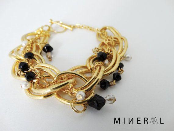 Bracelet chaine en noir et or par MNRL sur Etsy