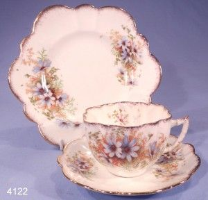 Antique Victorian Fluted Blue Daises Vintage Bone China Tea Cup, Saucer and Tea Plate Trio Pattern 908
