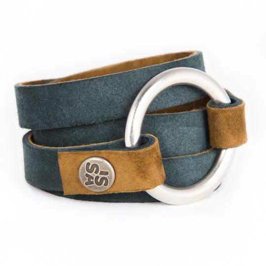Ringwrap armband in zacht denim leather! www.issamadeby.nl/ringwrap-denim