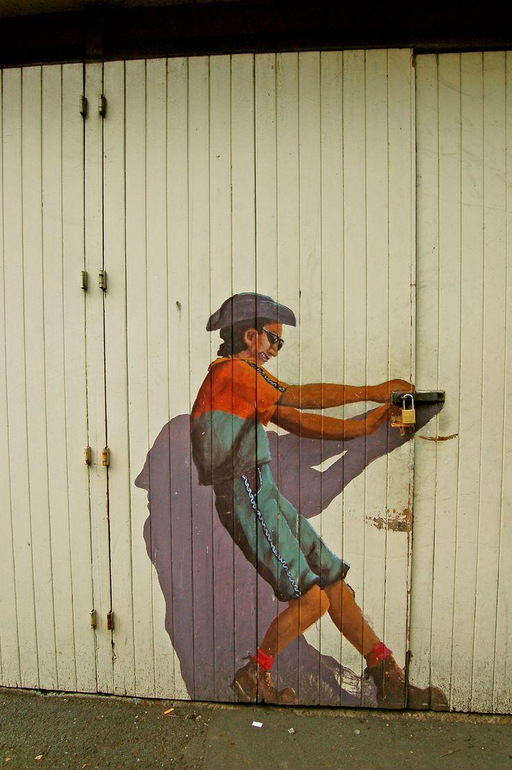 I have ...been ... trying to ...open ...this door ... for years!!  Door mural in the Auckland CBD