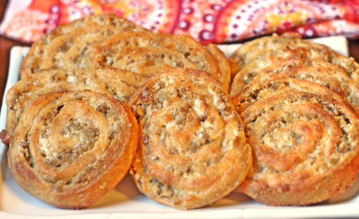 Low Carb and Gluten Free Sausage Cream Cheese Pinwheels make great party food for the holidays or a nice low carb and THM S snack.