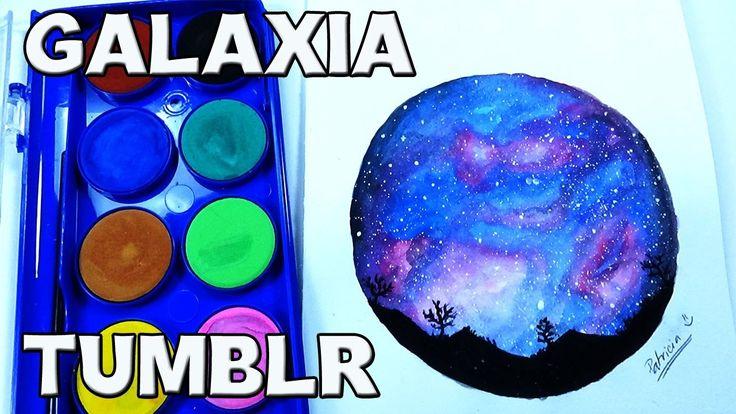 Como pintar un paisaje con galaxia TUMBLR (acuarelas) - TUMBLR galaxy la...