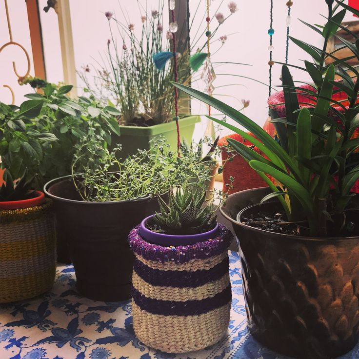 Colourful Beaded Planters  #beaded #african #basket