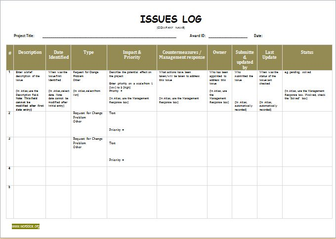 Issue Log Template Download At Http://Worddox.Org/Issue-Log