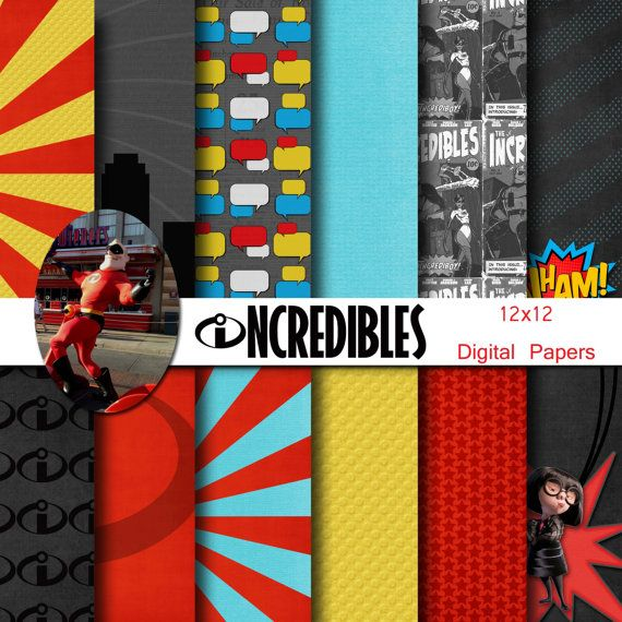 Disney Incredibles Inspired 12x12 Digital Paper Pack by monbonbon, $3.99