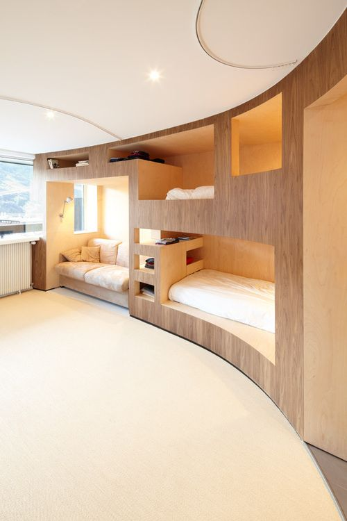 Kids Bedroom Furniture, Stylish Space Saving Ideas And Modern Loft Beds.  Good Idea To Maximize Space Above Beds.
