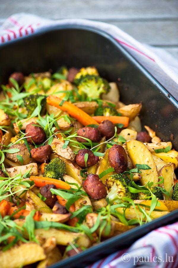 Ofenkartoffeln mit Gemüse und Lamm-Merguez via Paules Kitchen