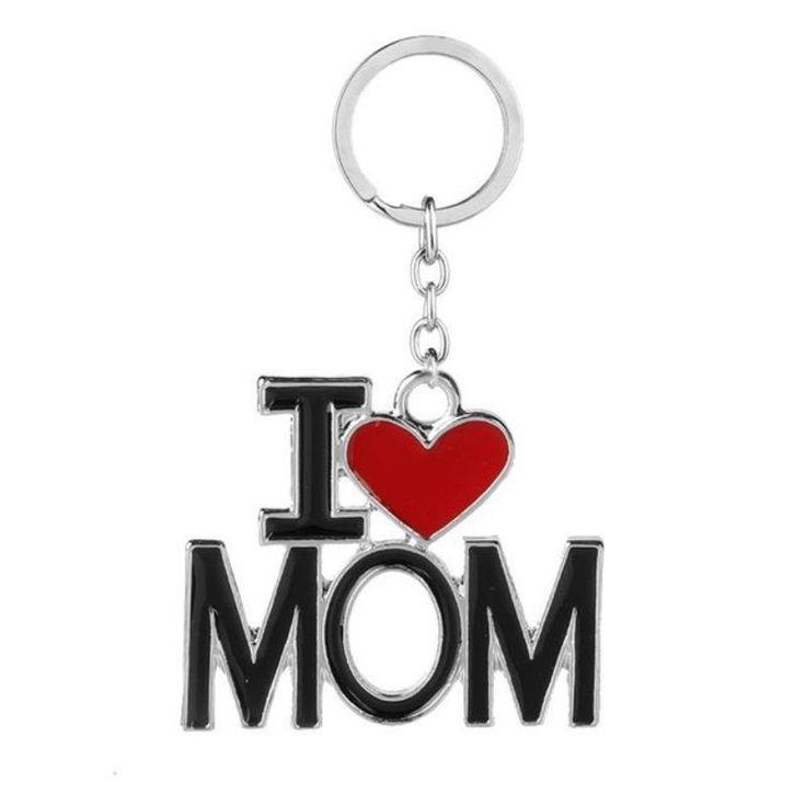 New i love mom dad papa mama heart trinket keychain i