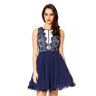 Quiz Navy chiffon lace panel prom dress- at Debenhams.com