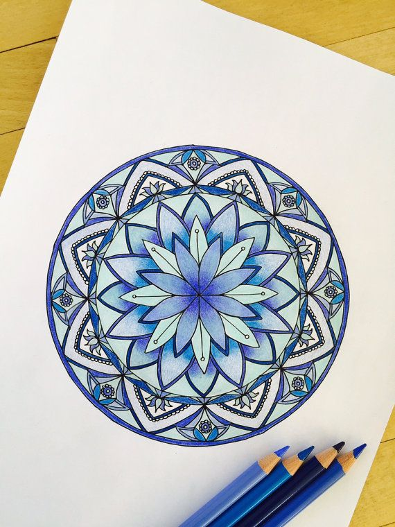 Mandala Lotus Hand Drawn Adult Coloring Page Print by MauindiArts