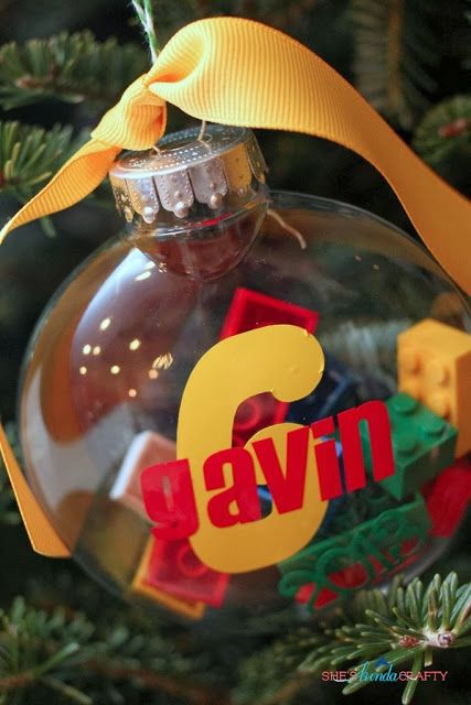 Simple DIY Ornaments for Teens and Boys; good idea to put items your child is interested in each year like a time capsule!