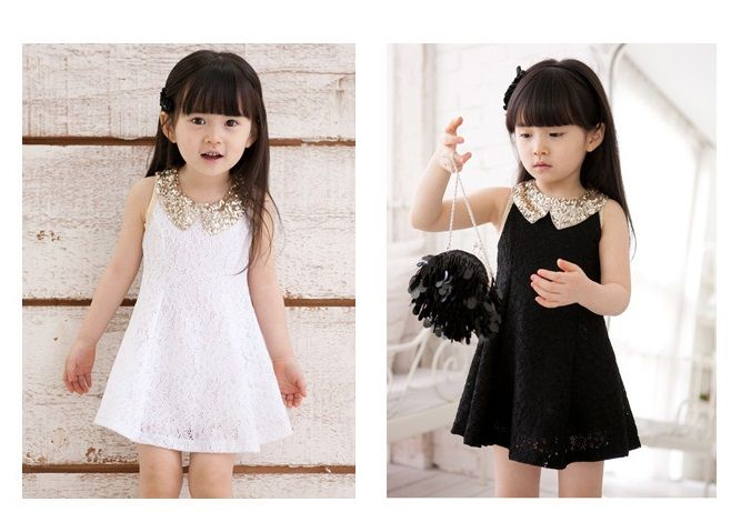 Ropa para bebés ropa de las muchachas sin mangas vestido de niña Kids Tutu Vestido Vestido Negro Niño Rico Blanco  Precio: $ 130.000