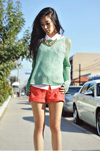 Oversized Crochet Neon Sweater with Sheer White Button-Down and Bib Necklace