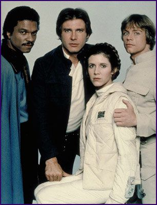 What I like about this picture is how the leading men frame Leia. Luke has a protective hand on Leia's shoulder as how he should be as a brother. Han's hand is on her thigh, which is a self explanatory gesture ;) And Lando...poor Lando #foreveralone