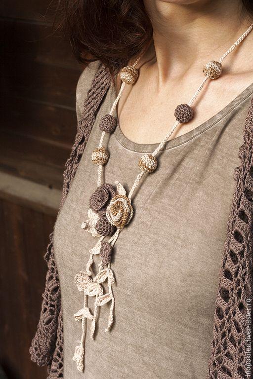 Купить Колье в стиле бохо - колье, Вязание крючком, вязаные украшения, лён